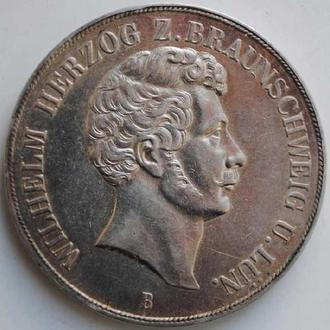 Брауншвейг-Вольфенбюттель 2 талера 1854 г., XF, 'Вильгельм (1831-1884)'