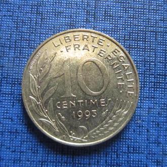 Монета 10 сантимов Франция 1993