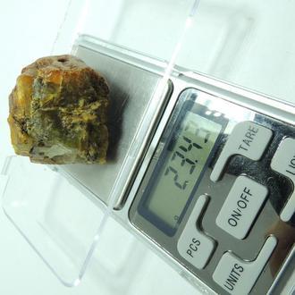 Янтарь 23.43 грамма пейзажный золото желтый под большой ШАР кулон бусы браслет №27