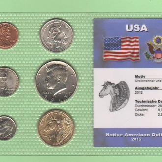 Набор монет США : Native American Dollar - 2012 год пластик блистер запайка