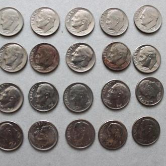 США. 10 центов, 20 монет, 1960-2000г. разные года