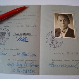 ФРГ 1950 Водительские Права Удостоверение Германия 05