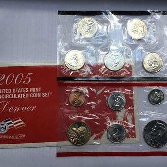 Набор из 11 монет США 2005г Денвер. Блистер .