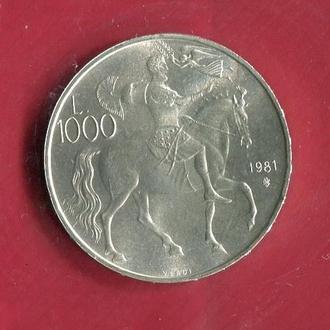 Сан Марино 1000 лир 1981 UNC серебро Бог войны Зевс