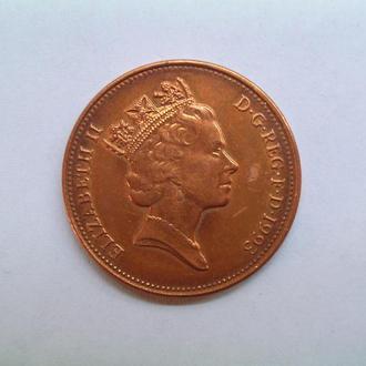 Монета Великобритании 1993г. 2 пенсов