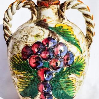 Очаровательная амфора,ваза! Кувшин для вина! Сосуд! Майолика! Италия!