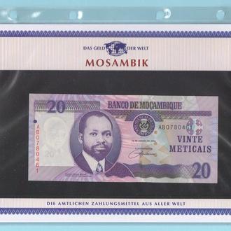 МОЗАМБИК банкнота 20 Meticais UNC из серии «Das Geld Der Welt» МОЗАМБІК + сертификат + альбомный лис