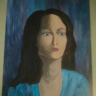 Портрет, картина маслом Девушка в синем
