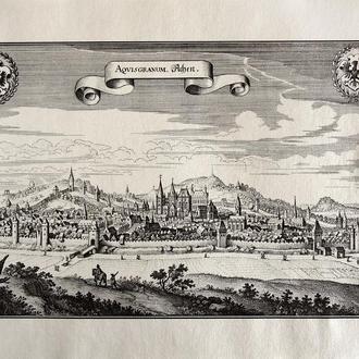 Старинная гравюра на бумаге верже Вид на Аахен, 1674, M. Merian
