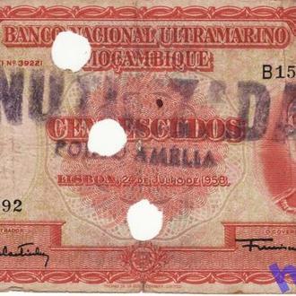 Португальский Мозамбик 100 эскудо 1958 гаш. Редкая