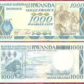 Боны Африка Руанда 1000 франков 1988 г.