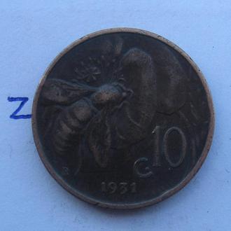 ИТАЛИЯ 10 чентезимо 1931 г.