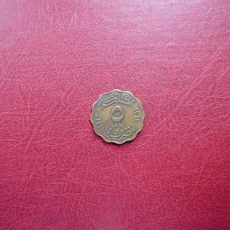 Египет 5 миллимов 1943 бронза