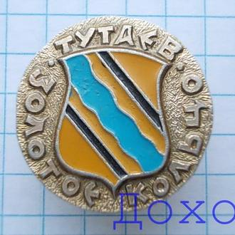 Значок Тутаев Золотое кольцо герб круглый №1