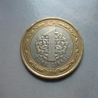 Турция 1 лира 2009 биметалл