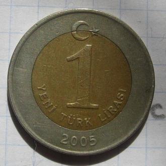 ТУРЦИЯ, 1 лира 2005 года (биметалл).