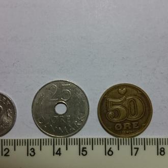 Данія - подборка монет .- 3шт
