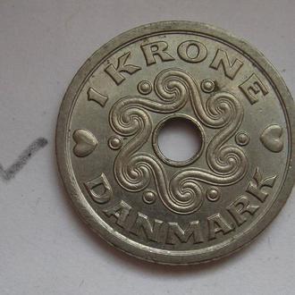 ДАНИЯ 1 крона 1992 г. (с отверстием).