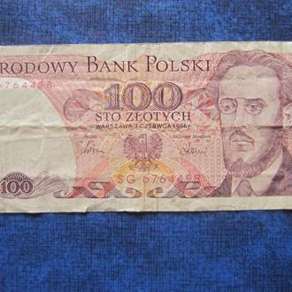Банкнота 100 злотых Польша 1986 №2