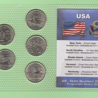 Набор квотер ов США 2001 D - пластик блистер запайка