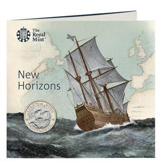 """Великобритания 2 фунта 2020 г., BU, """"400 лет историческому путешествию """"Мэйфлауэр"""""""