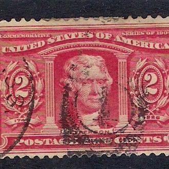 1904 год. 2-cents США  Thomas Jefferson.