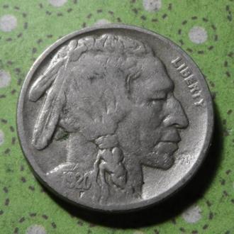 США 1920 год монета 5 центов Америка индеец буффало !
