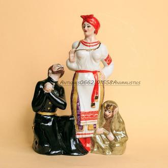 Фарфор Фарфоровая статуэтка Солоха и Дьяк Коростень скульптор А. Шевченко