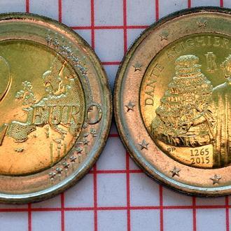 Италия 2 евро, 2015 750 лет со дня рождения Данте Алигьери