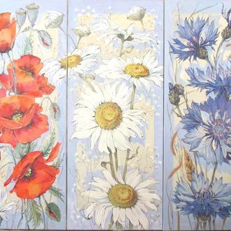 "триптих ""Полевые цветы"" холст, масло 120х150"