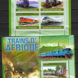 Того 2010 Жд Транспорт поезда паровозы локомотивы Африки мл+бл MNH **
