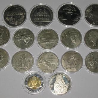 2000 год.  Набор 16 штук Полный годовой набор юбилейных монет Украины
