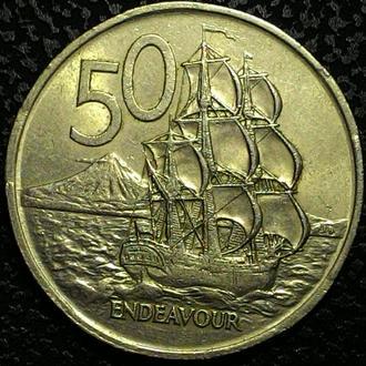 Новая Зеландия 50 центов 1967  ПАРУСНИК!!! СОСТОЯНИЕ!!!