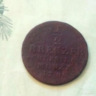 Австрия 1/2 крейцера 1788 год. (с3-3).  Еще 100 лотов!