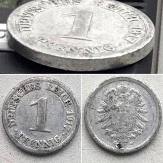 """Германия 1 пфенниг, 1917г Отметка монетного двора: """"G"""" - Карлсруэ"""
