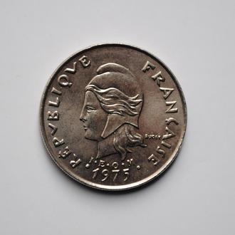 Французская Полинезия 20 франков 1975 г., UNC, 'Заморское сообщество Франции (1965-2015)'