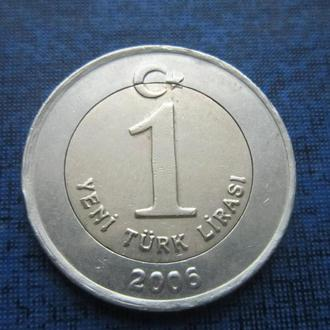 Монета 1 лира Турция 2006