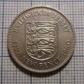 Джерси, 5 новых пенсов 1980 г.