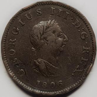 Англия 1/2 пенни 1806 год