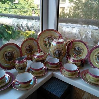 Фарфор.Шикарный чайный сервиз Мадонна-Гейша,кобальт,позолота,Германия