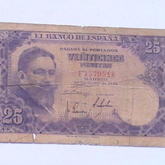 25 Песет 1954 р Іспанія 25 Песет 1954 г Испания