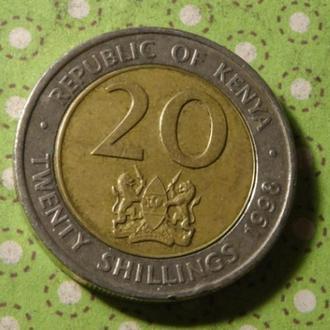 Кения 1998 год монета 20 шиллингов биметалл !