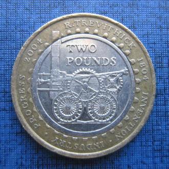 монета 2 фунта Великобритания 2004 паровоз