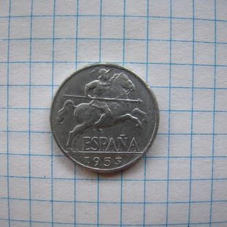 10 сантимов 1953 г., Испания.