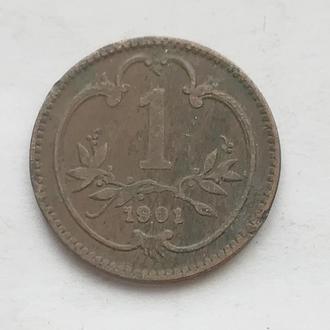1 геллера 1901 г Аастро - Венгрия