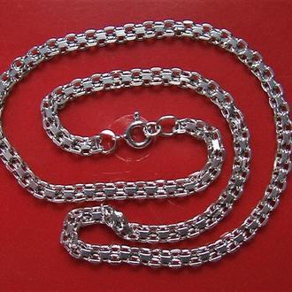 Цепочка серебро 925 проба 14,32 гр длина 45 см двойная якорная