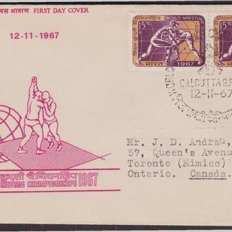 Индия 1967 БОРЬБА ЧЕМПИОНАТ МИРА СПОРТ СПОРТСМЕНЫ БОРЦЫ СПОРТИВНЫЕ СОРЕВНОВАНИЯ ПОЧТА КПД Mi.439х2