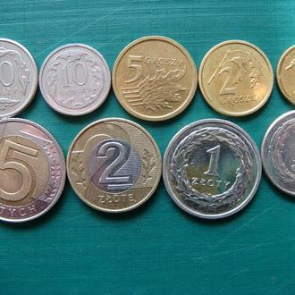 Польша 1 2 5 10 20 50 грошей 1 2 5 злотых 2015 Годовой набор