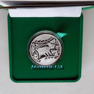 Срібна монета Рік Кози Східний календар 2014 НБУ серебро Год Козы Восточный календарь Ag 15.55 г