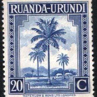 Руанда-Урунди (1942) Бельгийская колония. Пальмы
